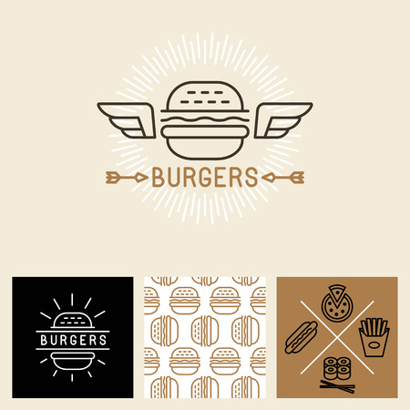 hamburgers: Vector burger design elements and package template - seamless pattern for wrapping paper with linear icons