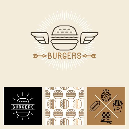 hamburguesa: Vector hamburguesa elementos de dise�o y plantilla de paquete - sin patr�n de papel de regalo con iconos lineales