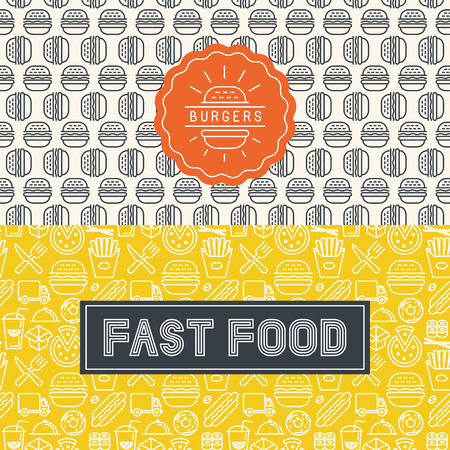 Vector fast food package design elements in trendy mono line style and seamless patterns