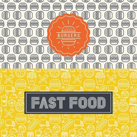 cibo: Vettore fast food pacchetto elementi di design in stile moda linea mono e modelli senza soluzione Vettoriali