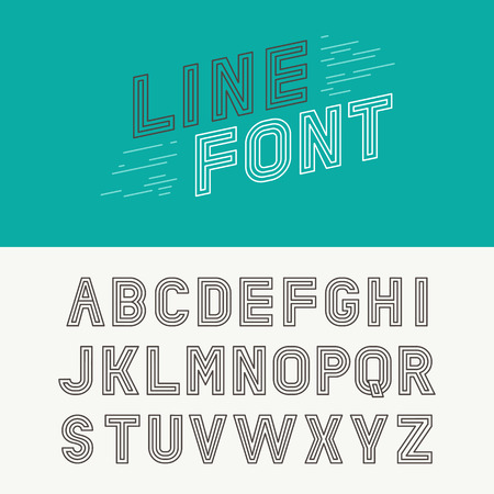 Vector linear font - simple and minimalistic alphabet in mono line style - typography design elements Illustration
