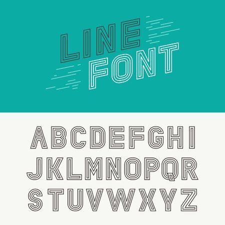 Vector lineaire lettertype - eenvoudige en minimalistische alfabet in mono lijn stijl - typografie ontwerpelementen