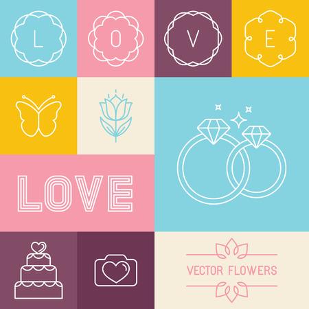 anillos de boda: Vector conjunto de iconos lineales y elementos de diseño de estilo lineal de moda para las invitaciones de boda y tarjetas de felicitación del amor - línea de letras mono e iconos