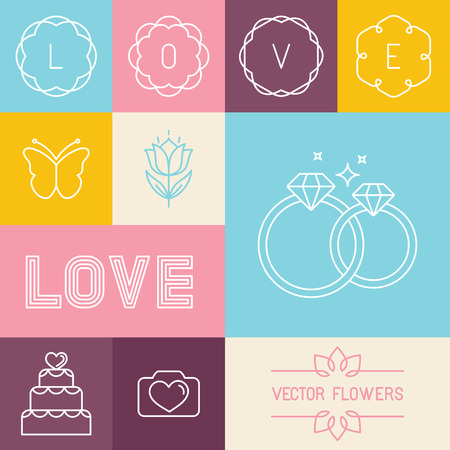 diamond ring: Vector set of linear icons and design elements in trendy linear style for wedding invitations and love greeting cards - mono line lettering and icons