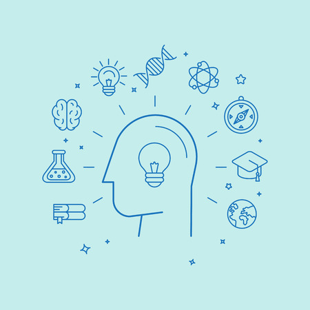 analytical: Vector learning and education concept in linear style - new ideas annd innovation icons Illustration