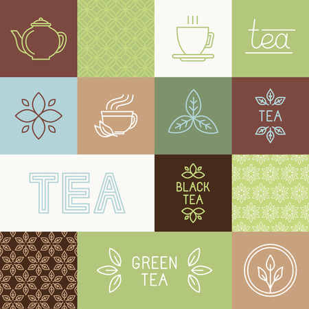 Vector tea package design elements in trendy mono line style - linears, hand-lettering, seamless patterns and icons Çizim