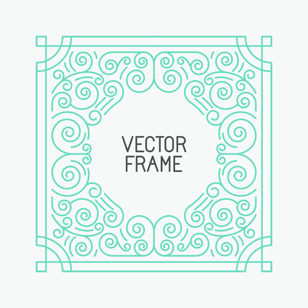leaf line: Vector floral frames in mono line style with copy space for text