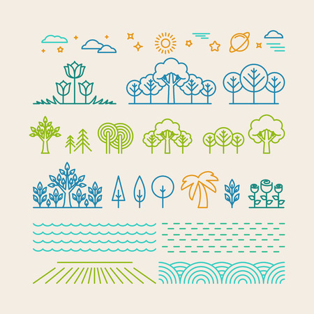 eco tourism: Vector linear landscape icons in trendy mono line style - trees, flowers, clouds