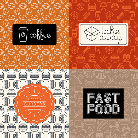 Vector linear icons and logo design elements in trendy mono line style - take away and fast food, burgers and coffee to-go Vettoriali