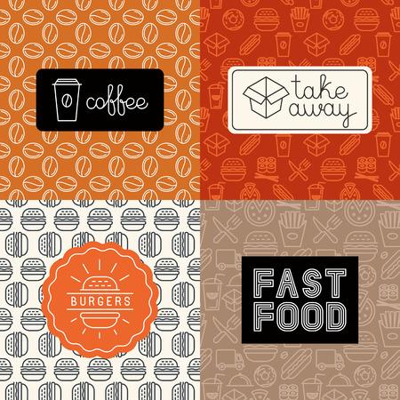 Vektor lineáris ikonok és logo design elemeket, a divatos mono vonal stílusa - elvitelre gyorsétterem, hamburger, kávé to-go