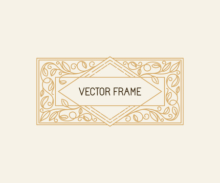 vintage border: Vector floral frame in mono line style with copy space for text - logo design template