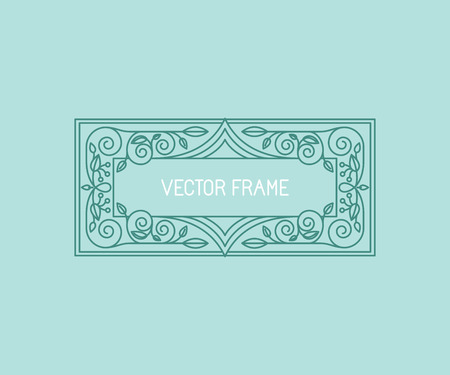 eco logo: Vector floral frame in mono line style with copy space for text - logo design template
