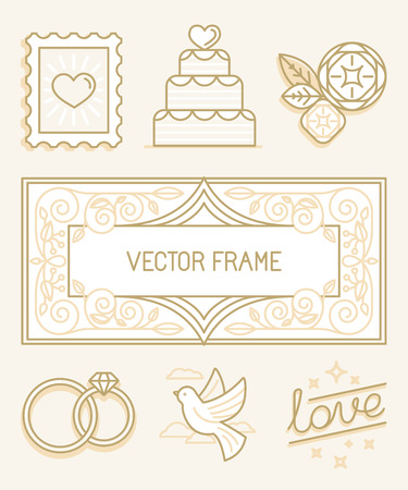 animal  bird: Vector linear design elements, icons and frame for wedding invitations and stationery - decoration set in trendy linear style
