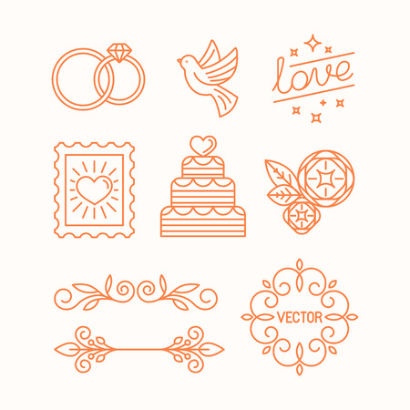 wedding cake: Vector linear design elements, icons and frame for wedding invitations and stationery - decoration set in trendy linear style