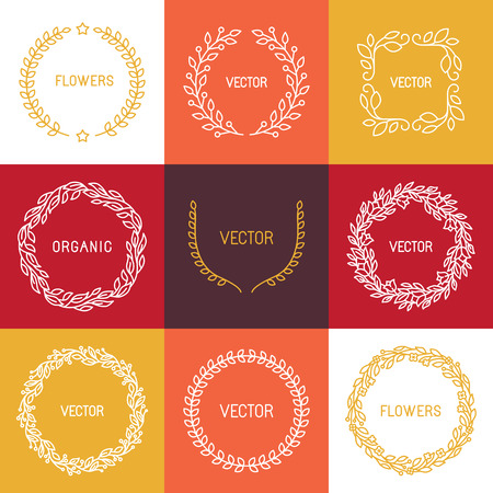 Vector linear badges and frames for logos and monograms in trendy mono line style - abstract wreaths and borders Illustration