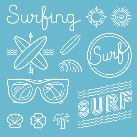 surf silhouettes: Vector set of surfing logo design templates in trendy linear style - summer and surf concepts Illustration