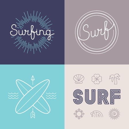 surfing: Vector set of surfing logo design templates in trendy linear style - summer and surf concepts Illustration