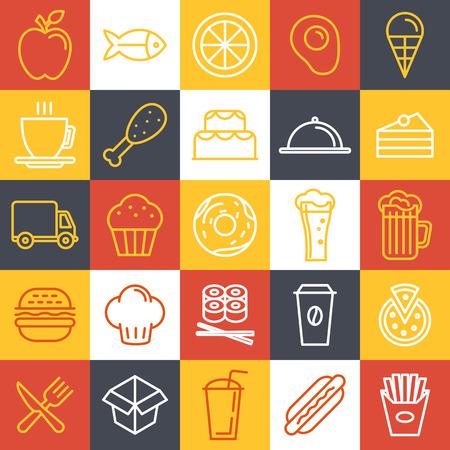 stravování: Vektorové ikony rychlého občerstvení a přihlaste se trendy lineárním stylu - stravování a kavárna emblémy