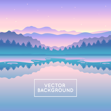 illustraiton: Vector abstract landscape - design template in gradient coors - with copy space for logo or text - splash screen or banner background