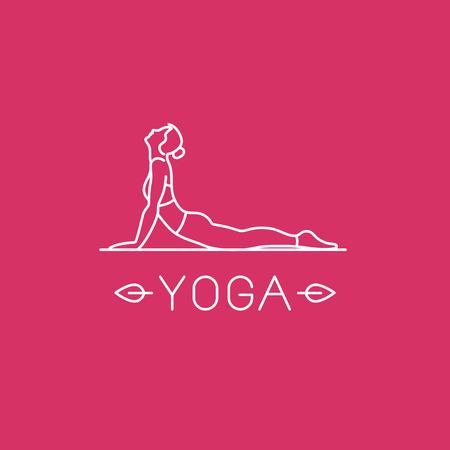 sport woman: Vector yoga   in trendy linear style - woman practicing yoga in the cobra pose - Bhujangasana