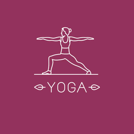 spiritual energy: Vector yoga   in trendy linear style - woman practicing yoga in the warrior pose
