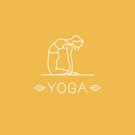 woman pose: Vector yoga   in trendy linear style - woman practicing yoga in the camel pose - ustrasana Illustration