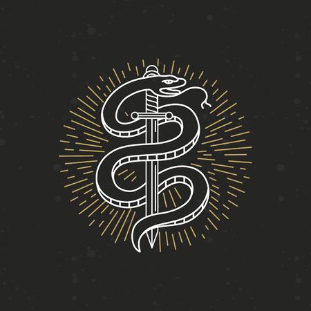 Dibujo blanco y negro del tatuaje del vector lineal - serpiente y la espada en el estilo de línea mono moda