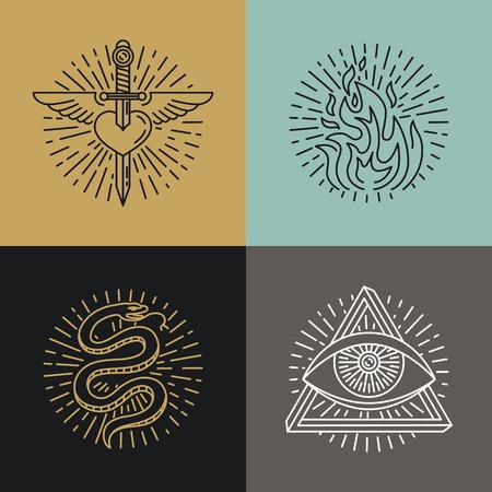 alquimia: Vector conjunto de iconos de estilo del tatuaje y emblemas en el estilo de línea mono de moda - ilustraciones lineales - corazón, fuego, serpiente y ojos Vectores