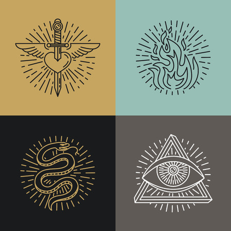 snake eyes: Vector set of tattoo styled icons and emblems in trendy mono line style - linear illustrations - heart, fire, snake and eye