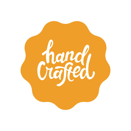 hand crafted: Vector label and badge with hand-lettering type - handcrafted stamp for homemade products and shops