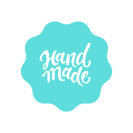 handmade: Vector label and badge with hand-lettering type - handmade stamp for homemade products and shops