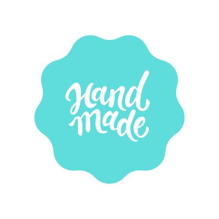 Vector label en badge met type hand belettering - handgemaakte stempel voor zelfgemaakte producten en winkels Stock Illustratie