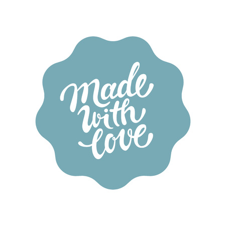 Vector label and badge with hand-lettering type - made with love stamp for homemade products and shops Çizim