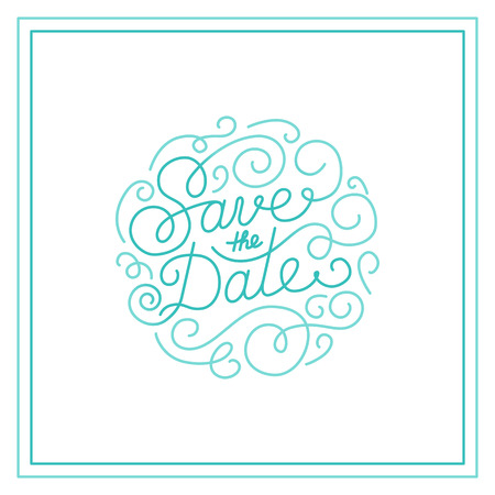trendy: Vector save the date card design template with hand-lettering and text - wedding invitation design element in trendy linear style