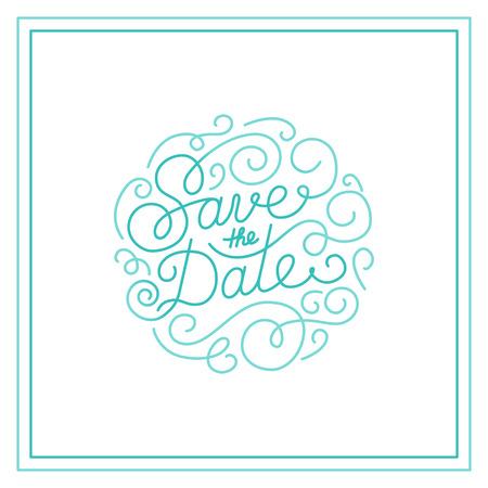 date: Vector speichern die Datumskarte Design-Vorlage mit der Hand-Schriftzug und Text - Hochzeitseinladung Design-Element in trendigen linearen Stil