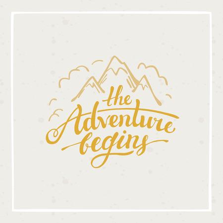 Das Abenteuer beginnt - Vektor Hand gezeichnet Reise-Illustration für T-Shirt Druck oder ein Plakat mit der Hand-Schriftzug Zitat