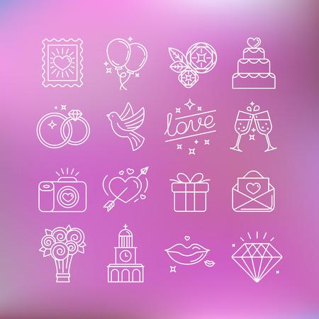 casamento: Jogo do vetor de ícones lineares e ilustrações relacionadas ao amor, casamento, Dia dos Namorados e do casamento - coleção de sinais e elementos de design para convites de casamento Ilustração