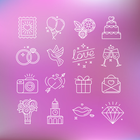 mariage: Vector set d'icônes linéaires et illustrations liées à l'amour, de mariage, le jour et le mariage de valentine - ensemble de signes et des éléments de conception pour des invitations de mariage Illustration