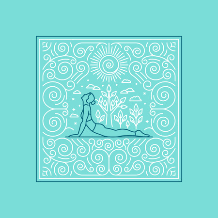 fitness woman: Vector linear illustration for t-shirt print, poster or greeting card - yoga concept - linear icons and frame with ornamental background