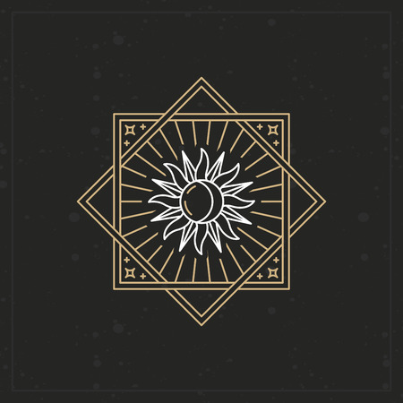 Vector abstract emblem in trendy linear style with sun and moon icon on geometric background