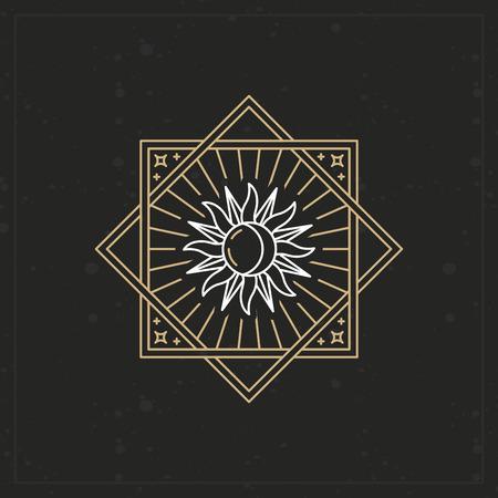 sonne mond und sterne: Vector abstract Emblem im trendigen linearen Stil mit Sonne und Mond-Symbol auf geometrischen Hintergrund Illustration
