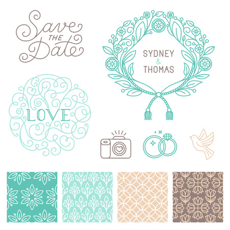 seamless vintage floral pattern: Vector set of design elements, hand-lettering, icons and seamless patterns Illustration