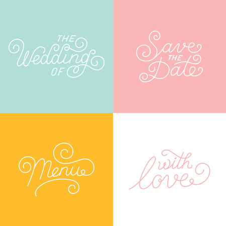 handlettering: Vector wedding card design templates with hand-lettering and text Illustration