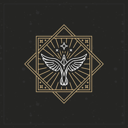 trendy: Vector abstract tattoo sign in trendy linear style - eagle icon