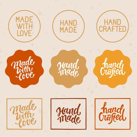 一連のデザイン要素とバッジ - ハンドメイド、手作りをベクトルし、愛 - で作られた手のレタリングとラベル