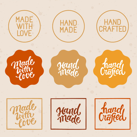 Vector set of design elements and badges - hand-made, hand crafted and made with love - hand lettering and labels Çizim