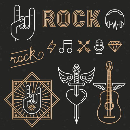headphone: Vector rock music concept in trendy linear style on black background - abstract illustrations and design elements