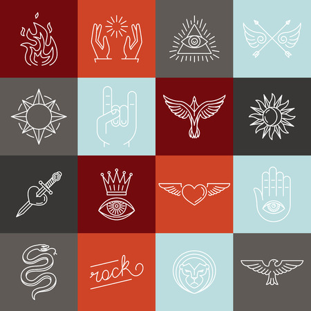 label design: Vector set of trendy linear hipster icons and symbols - mono line tattoo graphics and design elements
