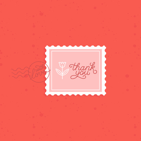 you: Vector thank you greeting card with linear hand-lettering on red background