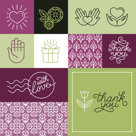 handlettering: Vector thank you greeting card with linear hand-lettering and design elements in trendy linear style